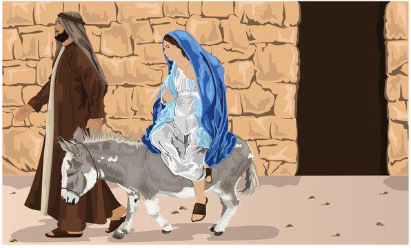 Mary Riding Into Bethlehem On Donkey With Jospeh - Christmas Story