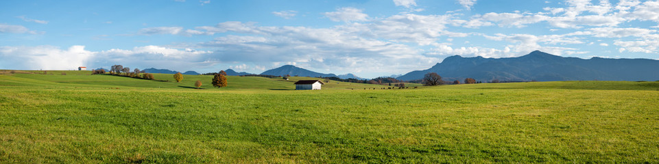 wide rural bavarian landscape near Riegsee, with view to the alps