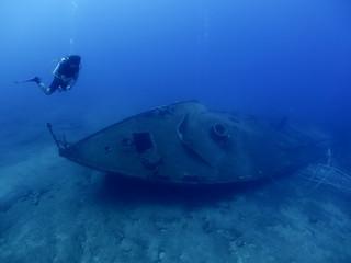 Garden Poster Shipwreck scuba divers exploring shipwreck scenery underwater ship wreck deep blue water ocean scenery of metal underwater and fish around