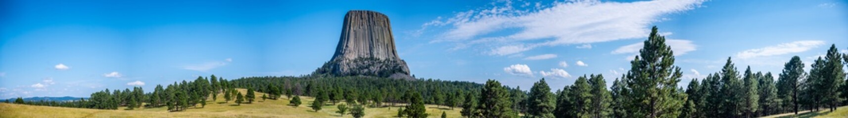 panoramic of Devil's Tower National Monument in Crook County Wyoming