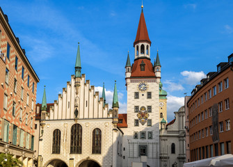 Fototapete - Old Town Hall on Marienplatz square in Munich, Bavaria, Germany