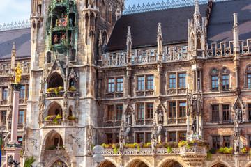 Fototapete - New Town Hall or Neues Rathaus on Marienplatz square, Munich, Bavaria, Germany.