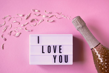 A bottle of champagne on a pink background, flower petals and a declaration of love, I LOVE YOU written in light box.