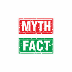 Abstract Red Green Grunge Myth & Fact Rubber Stamps Sign Illustration Vector, Myth & Fact Text Seal, Mark, Label Design Template
