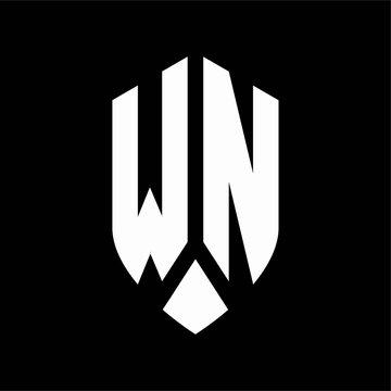 wn logo monogram with emblem shield style design template