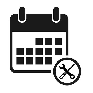 Calendar icon maintenance, date event symbol isolated on white background. Vector web button