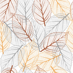 Fall seamless pattern, vector background with fallen leaves, autumn pattern