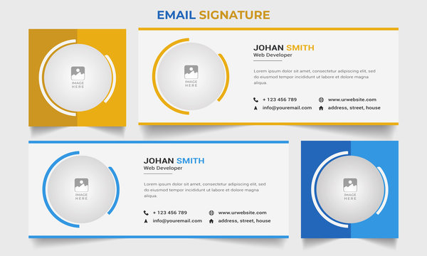 Email Signatures Templates Professional layout simple corporate awesome creative Email Signature banner with vector design