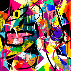 abstract background composition, with triangles, stripes, paint strokes and splashes
