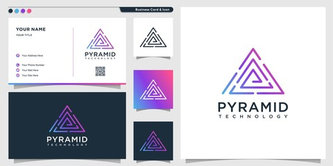 Delta technology logo with line art pyramid style and business card design template Premium Vector