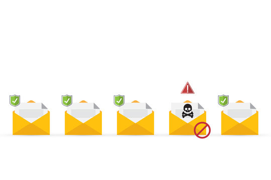Email / envelope with black document and skull icon. Virus, malware, email fraud, e-mail spam, phishing scam, hacker attack concept. Vector illustration
