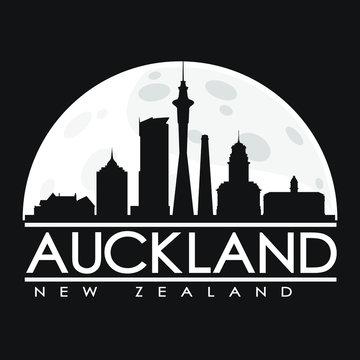 Auckland Full Moon Night Skyline Silhouette Design City Vector Art.