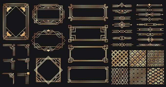 Art deco elements set. Creative golden borders and frames. Dividers and headers for luxury or premium design. Old antique elegant elements isolated on dark . Decoration for cards vector illustration