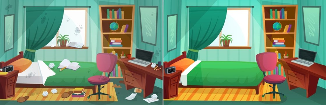 Room before and after cleaning. Comparison of messy bedroom and clean kid bedroom. Home interior after tiding service. Dirty window, bed, paper around room. Table and bookshelf vector illustration