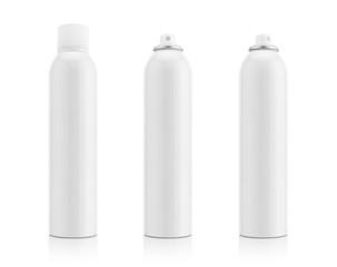 Blank white aluminum spray bottle for health care product design mock-up isolated on white background