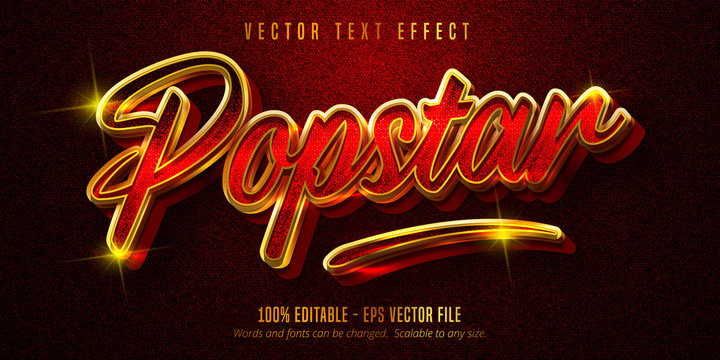 Popstar text, shiny golden style editable text effect