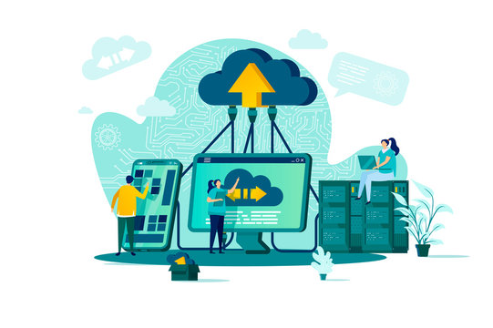 Cloud computing concept in flat style. IT specialists administrate cloud storage scene. Hosting platform, big data processing web banner. Vector illustration with people characters in work situation.