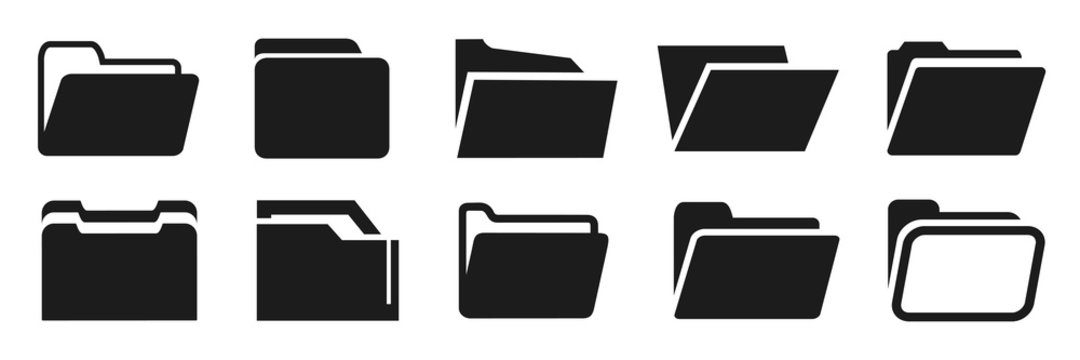 Set folder flat icons sign – vector