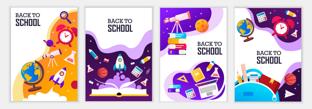 Back to school banners. Set of colorful templates for banners, posters, flyers, covers, invitations, brochures. Vector cartoon illustration. Back to school design.