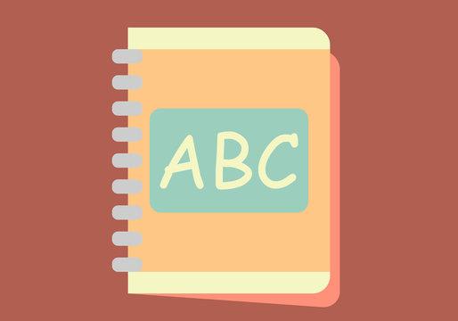 Agenda con letras del abecedario en fondo rojo.