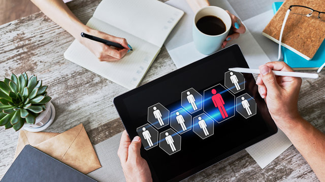 HR, Human resource management, teamwork, recruitment concept on device screen.