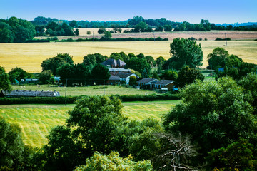 Cotswolds scenery and agricultural landscape England UK