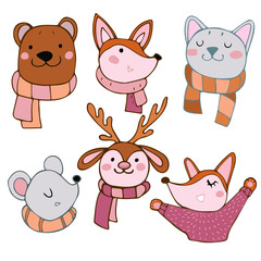 animals kids in scarfs on the white background