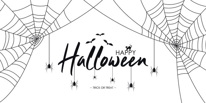 Happy Halloween text banner with spiders and web, bat and cat.  Background for Halloween banner, invitation, card with spiderweb and spider. Vector