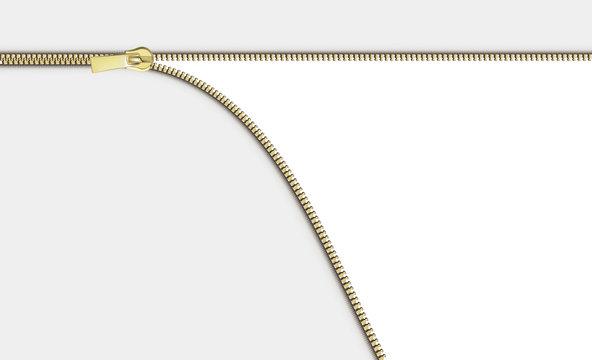 Open close zip. Realistic zipper fastener reveal vector. Metallic gold elegant zip locker with runner horizantal white background. Graphic illustration