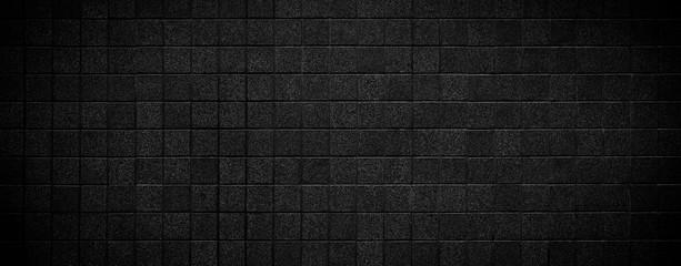 Black brick wall horizontal texture background