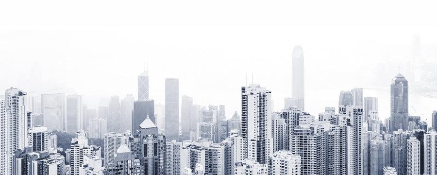 Blue toned modern cityscape background