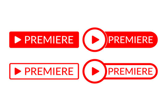 Red premier buttons on a white background. Vector illustration.