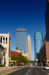 IDS Tower and Wells Fargo Center and AT&T Tower from empty Marquette Avenue Minneapolis