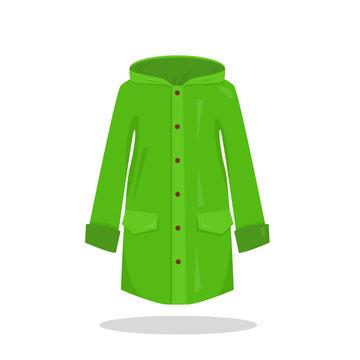 Green rain coat on white background.