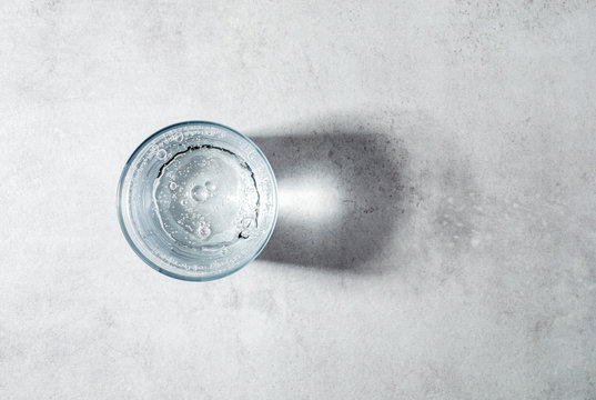 glass of sparkling water top view