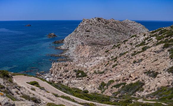 View of Mediterranean Sea from Belvedere di Capo Sandalo, Carloforte, Sardinia, Italy 2