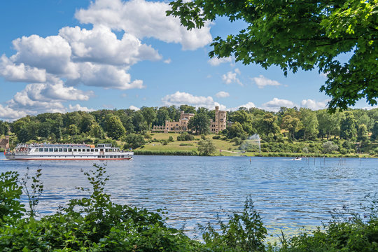 Tiefe Lake, Babelsberg Palace and the tourist boat in Potsdam, Germany
