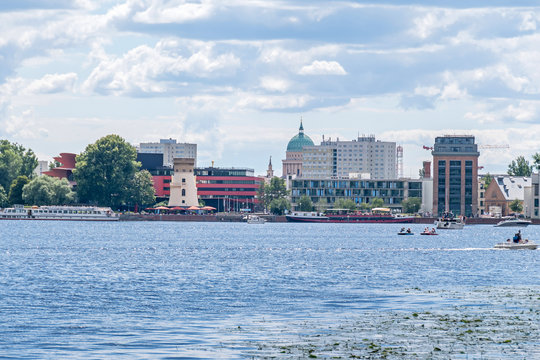 Tiefer Lake with the quay of the Schiffbauergasse in Potsdam, Germany