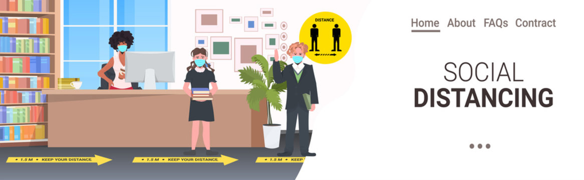 schoolchildren in masks keeping distance to prevent coronavirus pandemic social distancing concept school library interior horizontal full length copy space vector illustration