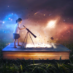 Young Girl Looking at Space from Book