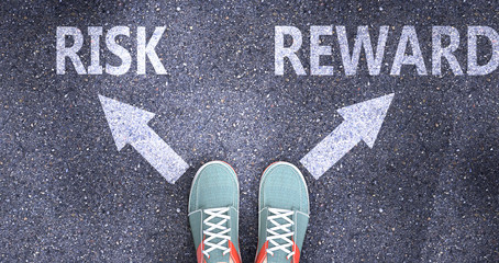 Risk and reward as different choices in life - pictured as words Risk, reward on a road to symbolize making decision and picking either Risk or reward as an option, 3d illustration