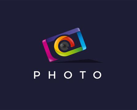 minimal photography logo template - vector illustration