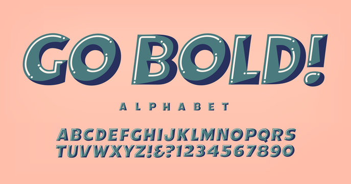 Go Bold Alphabet; A Fun and Whimsical Font in Three-Toned Harmonized Colors. This Lettering Would be Good for Party Invitations; Birthday Greetings, Kids Products, Gift Wrap, and Much More.