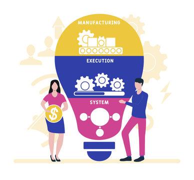Flat design with people. MES - Manufacturing Execution System. Platform. business concept background. Vector illustration for website banner, marketing materials, business presentation