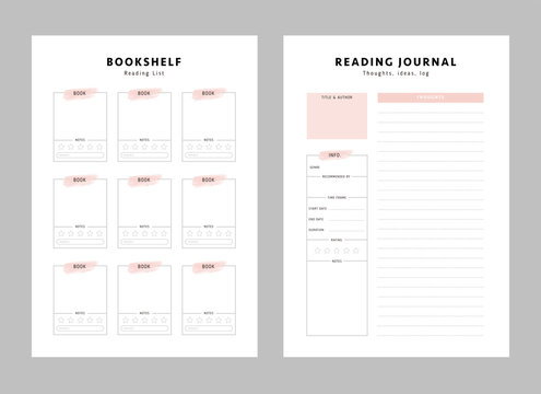 2 Set of minimalist bookshelf reading list and reading journal logbook template. Clear and simple printable. Organizer page. Paper sheet. Realistic vector illustration.