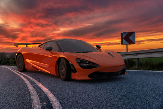 The luxurious, sporty Mclaren 720S when driving on a winding road