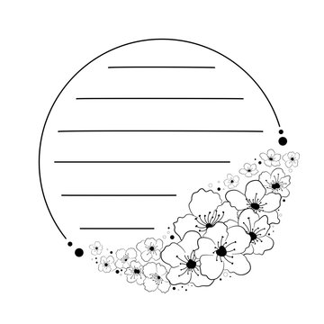 Doodle black line sakura flowers in circle frame. Large bouquet is on the bottom right. Line in for message like notepaper. 2 silhouette use to cricut, cut file. Vector illustration about stationery.