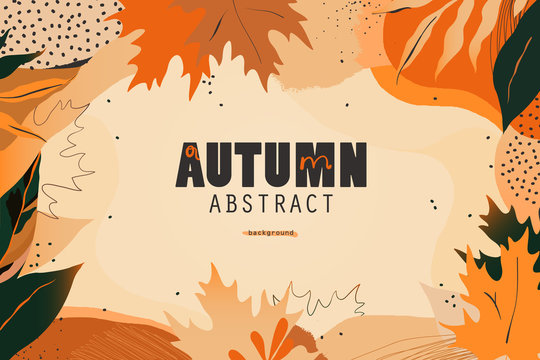 Autumn seasonal artistic abstract background template. Modern hand drawn vector illustration.