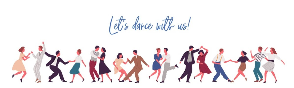 People dancing lindy hop, swing or jazz dance of 40s. Party time in retro rock n roll style. Banner with lettering and place for text. Flat vector cartoon illustration isolated on white background