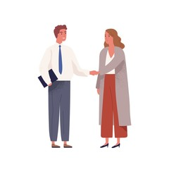 Businessman in office suit meeting businesswoman and shake hands. Scene of hiring for job, making agreement or successful partnership. Flat vector cartoon illustration isolated on white background